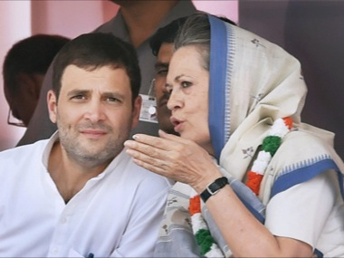 Congress President Sonia Gandhi with son Rahul. PTI