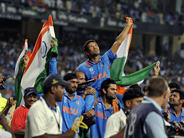 Sachin Tendulkar is carried by Virat Kohli and Yusuf Pathan after they beat Sri Lanka in 2011 World Cup final. Reuters