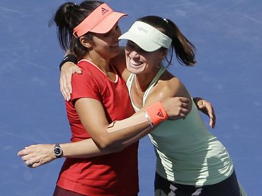Sania Mirza and Martina Hingis.. AP