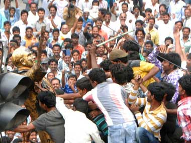 Protests in Andhra Pradesh. File photo. Image courtesy: AFP