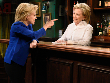 Watch: Hillary Clinton teams up with doppelganger for a Saturday Night Live skit