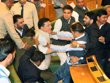 Jammu and Kashmir Assembly: National Conference protests suspension of its lawmakers