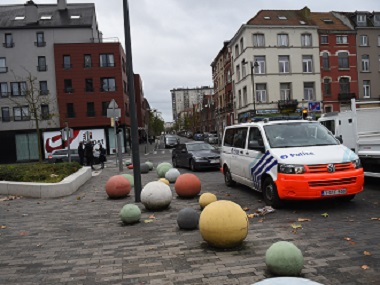 The site of a police intervention in Brussels' Molenbeek district to arrest people in connection with the Paris attacks. AFP