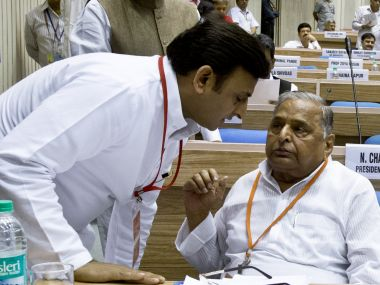 UP Chief Minister Akhilesh Yadav and SP chief Mulayam Singh Yadav. AFP