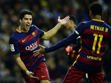 File photo of Suarez-Neymar. AFP