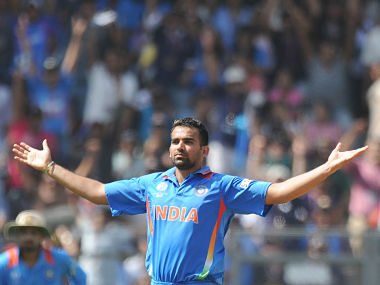 Zaheer Khan celebrates in his inimitable style during his dream at the 2011 World Cup. AFP