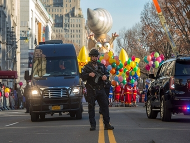 Balloons, floats and heavy police presence at NYC Thanksgiving parade