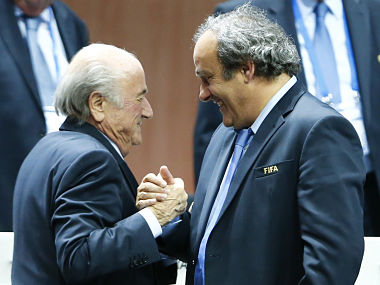 File picture of Michel Platini (R) and Sepp Blatter. Reuters