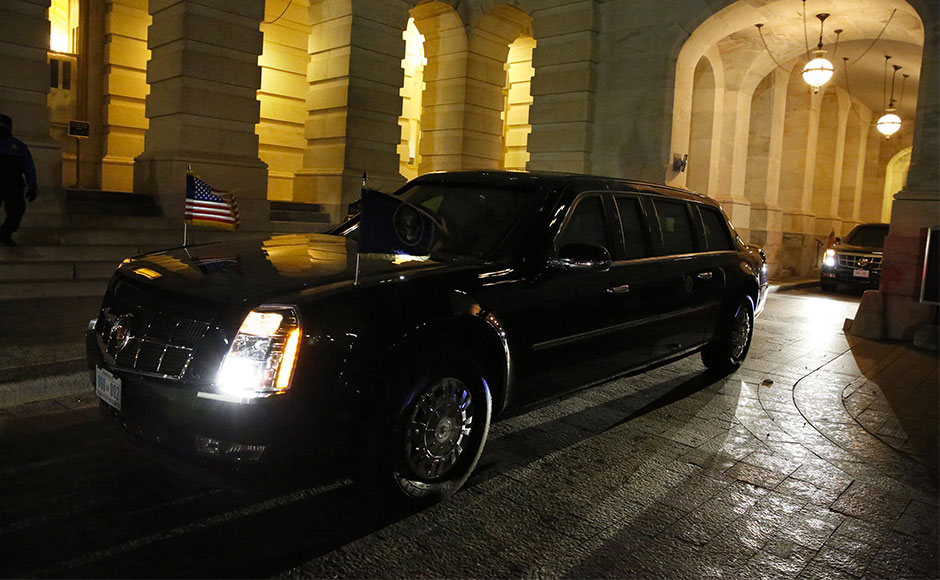 The presidential limo is seen as US President Barack Obama arrives for the State of the Union address on Capitol Hill in Washington on January, 12 2016. AFP PHOTO / POOL / YURI GRIPAS / AFP / YURI GRIPAS