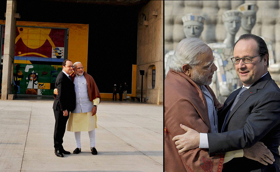 Chandigarh: Prime Minister Narendra Modi greets French President Francois Hollande at the Rock Garden of Chandigarh on Sunday. PTI Photo