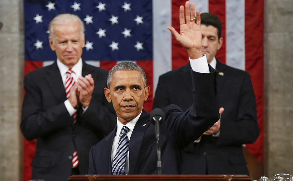 President Barack Obama waves at the conclusion of his State of the Union address to a joint session of Congress on Capitol Hill in Washington, Tuesday, Jan. 12, 2016. (AP Photo/Evan Vucci)