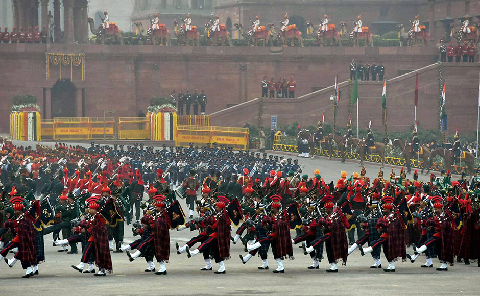 Tri-Services bands perform during the Beating Retreat ceremony at Vijay Chowk in New Delhi on Friday. PTI Photo by Vijay Verma(