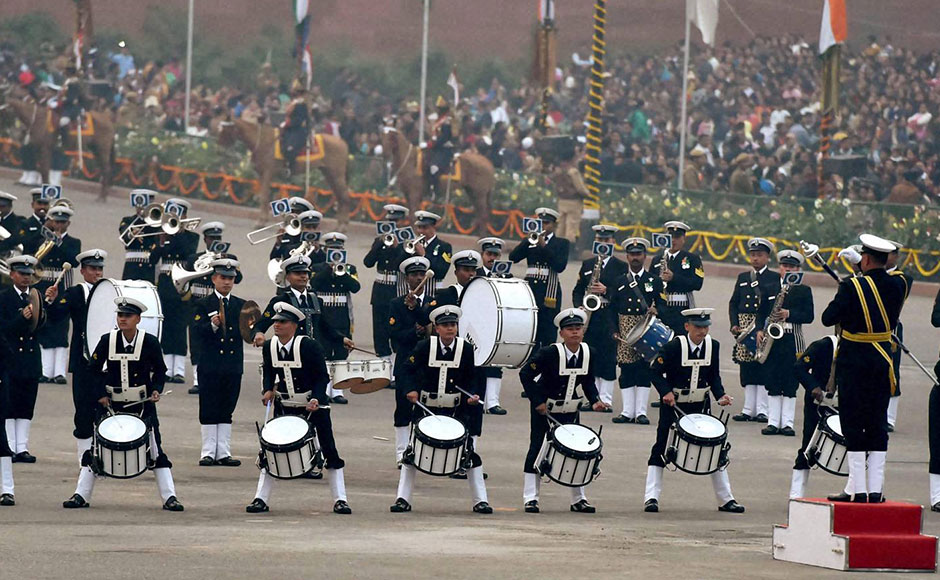 The Naval brass band performs during the Beating Retreat ceremony at Vijay Chowk in New Delhi on Friday. PTI Photo by Vijay Verma