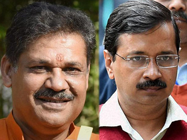 Kirti Azad (left) and Arvind Kejriwal. PTI