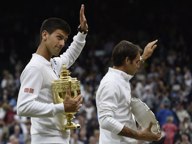 Djokovic and Federer at Wimbledon. AP