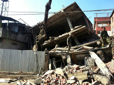 A building collapse after the Manipur earthquake. AP