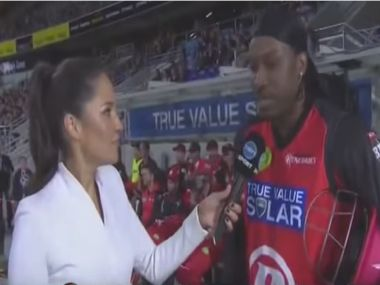 A screengrab from Gayle's interview.