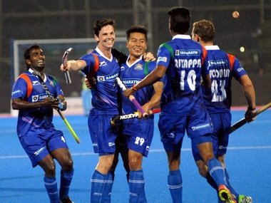 UP Wizards players celebrate a goal against  Kalinga Lancers during their match at Hockey India League-2016 in Bhubaneswar on Monday. PTI