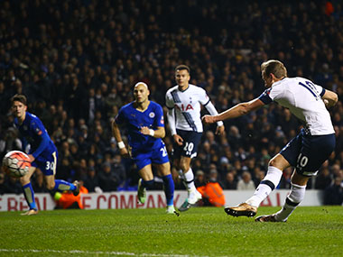 Harry Kane of Spurs scores a late penalty to level the scores at 2-2 during The Emirates FA Cup third round match between Tottenham Hotspur and Leicester City. Getty