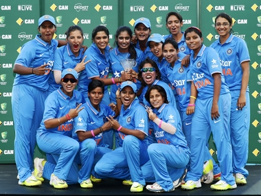 India Women's team pose with the trophy after series win over Australia. Getty