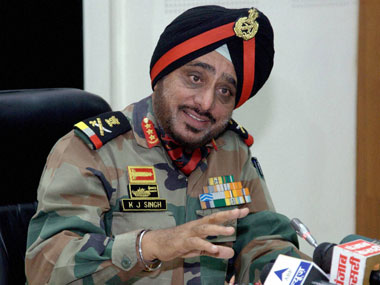 Lieutenant General KJ Singh, General Officer, Commanding-in-Chief of the Western Command addresses a press conference in Chandigarh on Wednesday. PTI