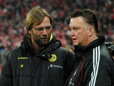 Man United's Louis Van Gaal (right) and Liverpool's Jurgen Klopp (left)