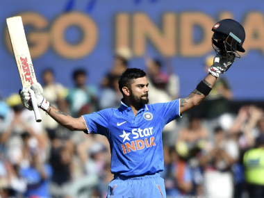 Kohli became the fastest to reach 7,000 runs and 24 centuries in ODIs. AFP