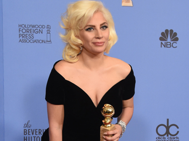 Lady Gaga with her Golden Globe for American Horror Story: Hotel. AFP