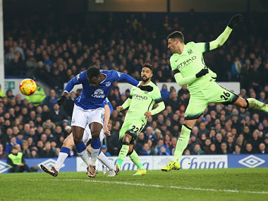 Romelu Lukaku of Everton scores his team's second goal during the Capital One Cup Semi Final First Leg match between Everton and Manchester City. Getty