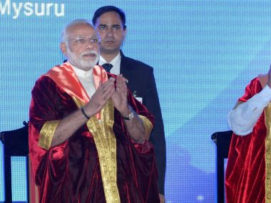 PM Narendra Modi at the Indian Science Congress at the university of Mysuru on Sunday. PTI