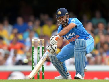 MS Dhoni in action against Australia. Getty