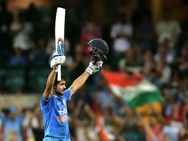 Manish Pandey celebrates after scoring century in the 5th ODI against Australia. Getty