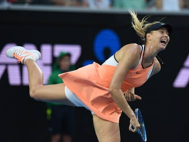 Maria Sharapova during her first round match at the Australian Open. AFP