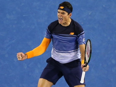 Milos Raonic after his win over Gael Monfils. Getty