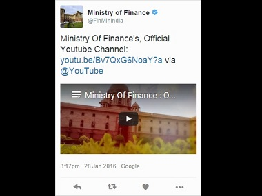 A screen grab of the tweet from the Ministry of Finance. Twitter @FinMinIndia
