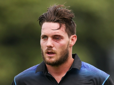 Mitchell McClenaghan of New Zealand leaves the field with an injured eye after being struck by a bouncer while batting during 1st ODI between New Zealand and Pakistan. Getty