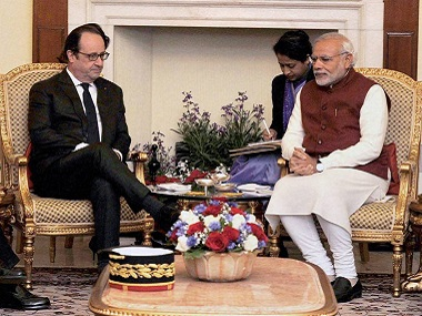 Prime Minister Narendra Modi and the President of France, Francois Hollande in a meeting in Hyderabad. PTI