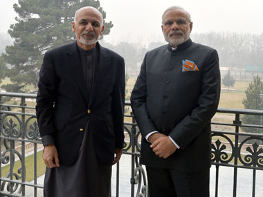 Prime Minister Narendra Modi with the Afghan President Ashraf Ghani, at Kabul, in Afghanistan on 25 December 2015. Image courtesy PIB