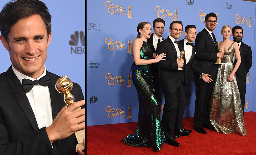 Mozart in the Jungle and Mr Robot stars with their Golden Globes awards. AFP
