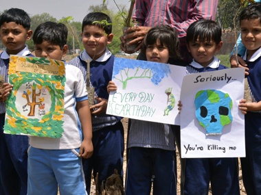 Children campaigning against air pollution. Representational image. AFP