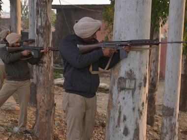 A file image of security personnel taking position near the first base of IAF in Pathankot. AFP