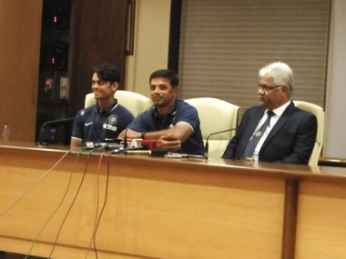 Rahul Dravid at the press conference before departing for the U-19 World Cup. Image courtesy: Jigar Mehta