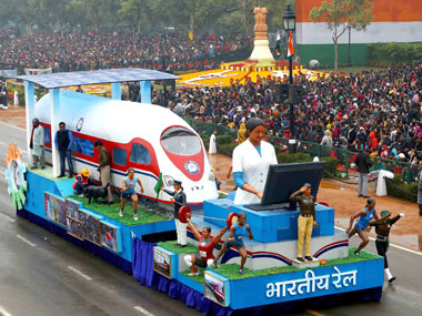 The tableau Ministry of Railways passes through the Rajpath during the 66th Republic Day Parade 2015, in New Delhi on 26 January 2015. Image courtesy PIB