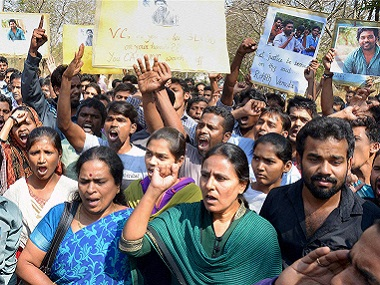 Students staged a protest over the death of Rohith Vemula at the Hyderabad Central University on Monday. PTI
