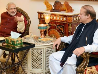 PM Modi's meeting with Nawaz Sharif. AFP