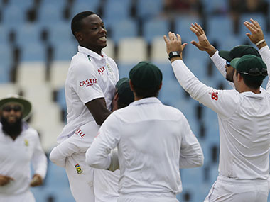 Kagiso Rabada celebrates with his teammates. AP