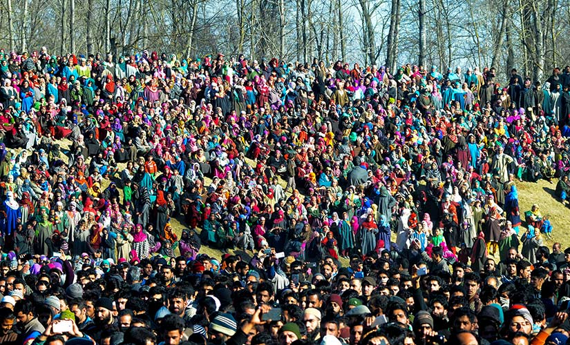 Women participate in the funeral of a Kashmiri militant. Firstpost/Sameer Yasir