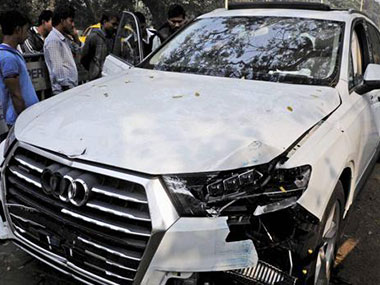 The car involved in the hit-and-run case. PTI