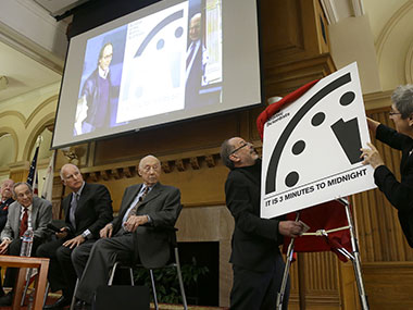 Unveiling the new 'Doomsday' Clock. AP