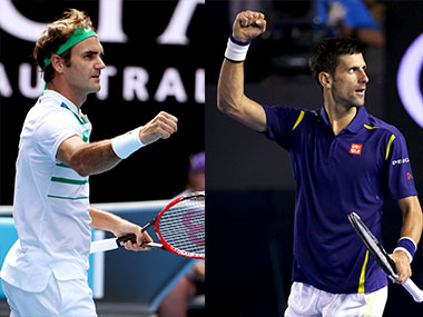 Roger Federer vs Novak Djokovic at the Australian Open. AP